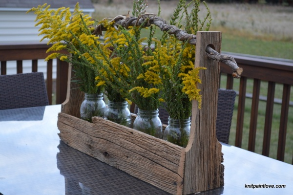 Long tool box with wildflowers