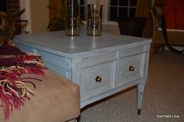 Finished end table placed in the family room